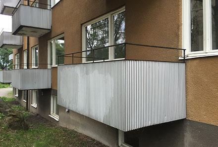 Fackverket 1 balkong utan dekorativt smide
