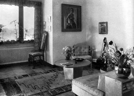 Astrid Sohlmans vardagsrum på De Geersgatan 16 på Gärdet i Stockholm